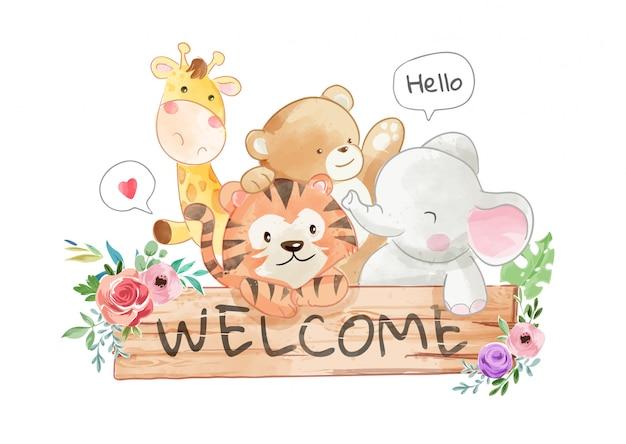 Schattige dieren vrienden en welkom hout teken illustratie