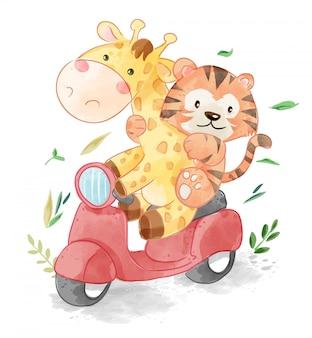 Schattige dieren vrienden rijden scooter illustratie