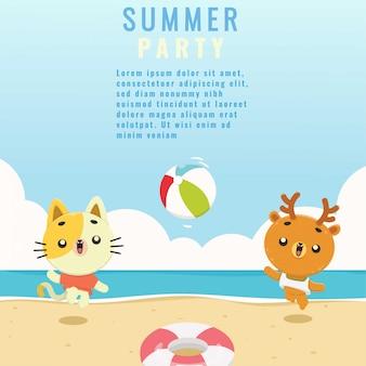 Schattige dieren zomer strand achtergrond sjabloon set