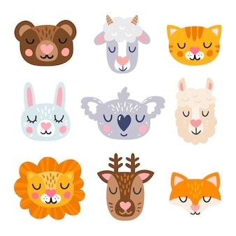 Schattige dierengezicht hoofden pictogrammenset met hartjes op de neus.
