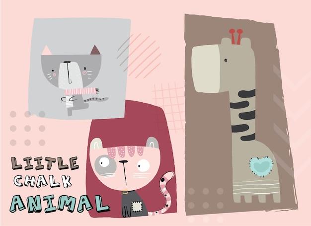 Schattige dierengiraf met illustratie van de kattenkrijtstijl
