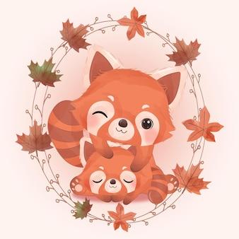 Schattige dierenillustratie voor decoratie van het herfstseizoen