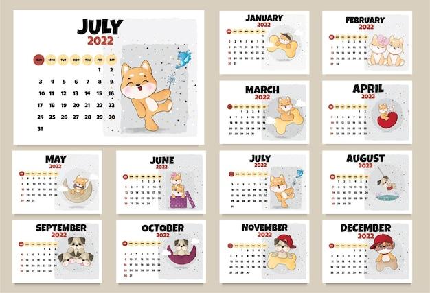 Schattige dierenkarakters kalender voor 2022 illustratie kalender 2022