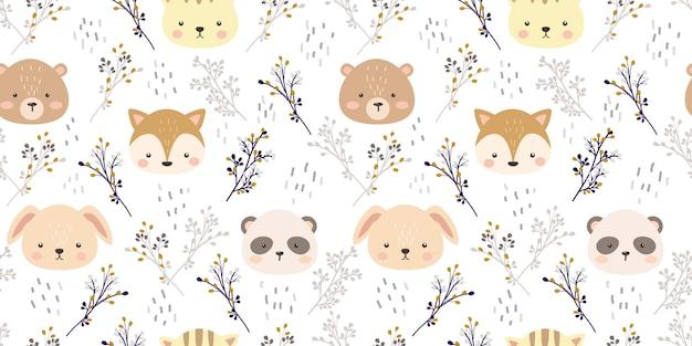 Schattige dierenkop en bloemenillustratie in naadloos patroon