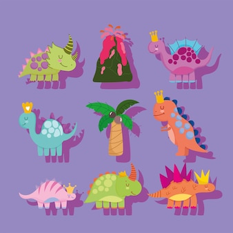 Schattige dino's uitgestorven en vulkaan palm natuur cartoon set Premium Vector