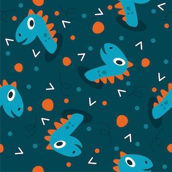 Schattige dinosaurus hoofd patroon illustraties