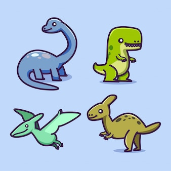 Schattige dinosaurus illustraties