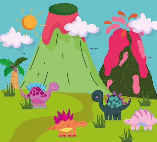 Schattige dinosaurussen in de wilde natuur