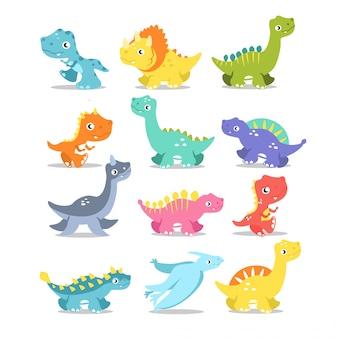 Schattige dinosaurussen pakken karakters in