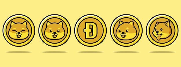 Schattige dogecoin illustratie ontwerpset