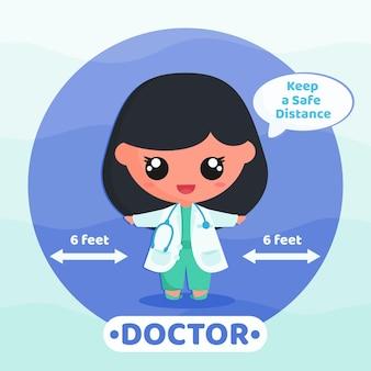 Schattige dokter doet sociale afstandscampagne om virus te voorkomen