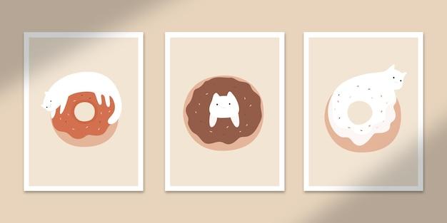 Schattige donuts kat abstracte posters kunst handgetekende vormen covers set collectie voor muur print decor