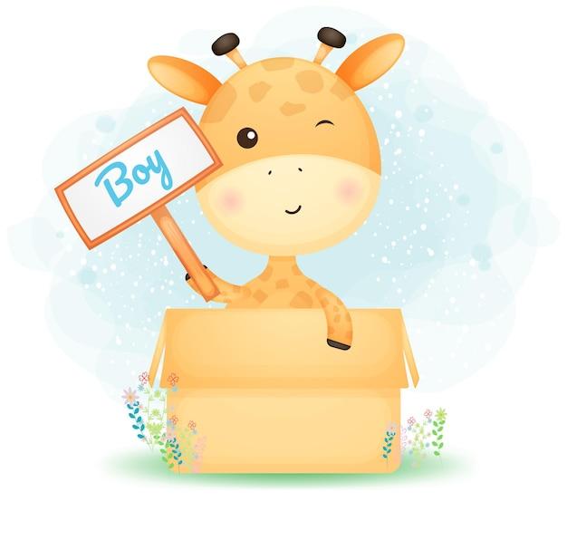 Schattige doodle baby giraffe jongen in de doos. babyshower