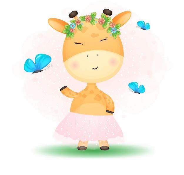 Schattige doodle baby giraffe meisje. babyshower