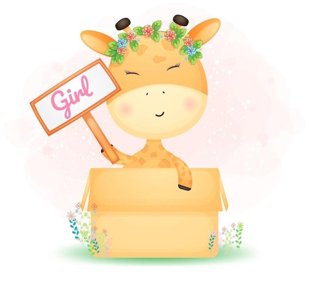 Schattige doodle baby giraffe meisje in de doos. babyshower