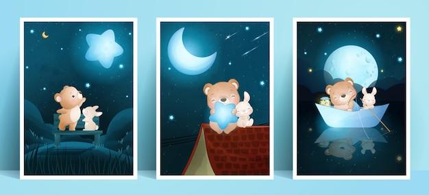 Schattige doodle beer en konijn met frame-collectie