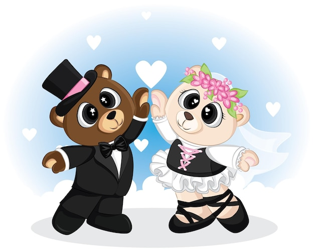 Schattige doodle beer met trouwkleding voor valentijnsdag.