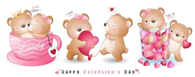 Schattige doodle beer voor valentijnsdag collectie