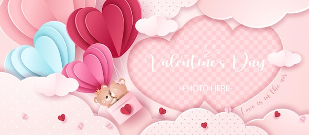 Schattige doodle beer voor valentijnsdag in papieren stijl banner