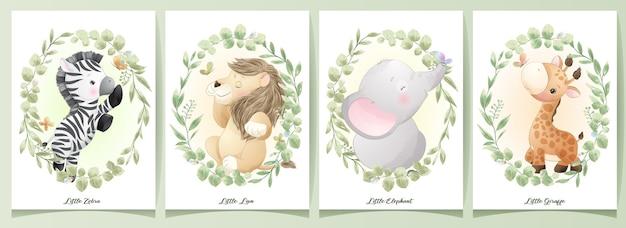 Schattige doodle dieren met bloemen set illustratie