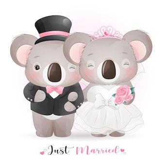 Schattige doodle koala met trouwkleding, net getrouwd