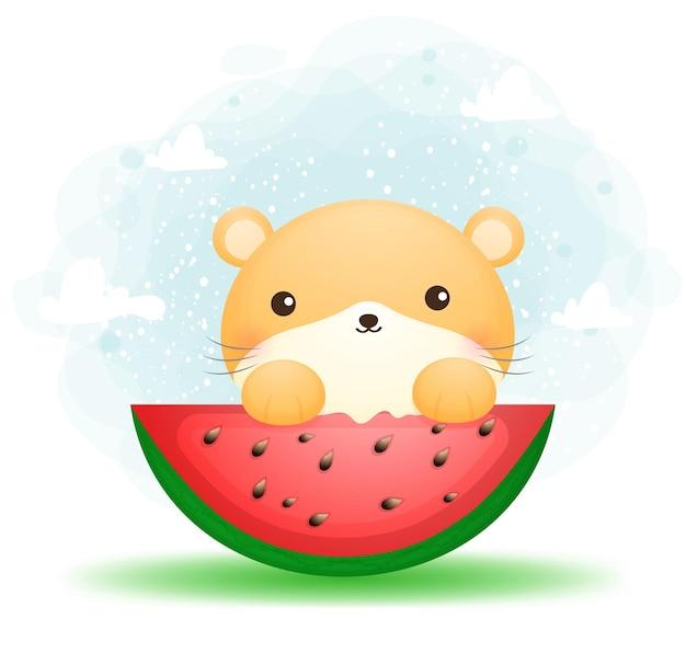 Schattige doodle moeder hamster eet watermeloen stripfiguur