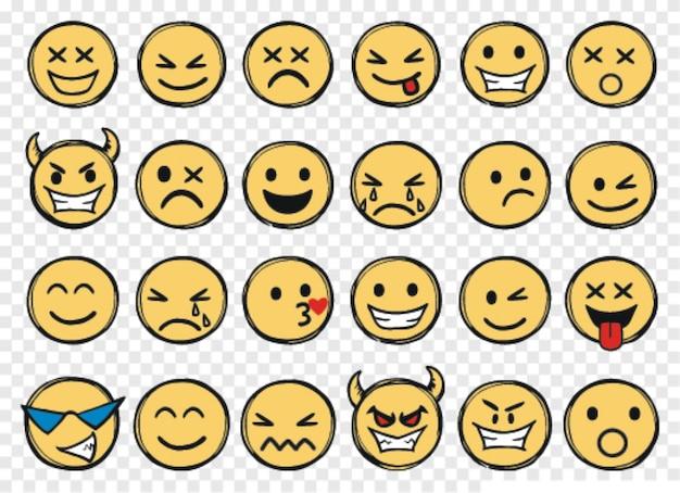 Schattige doodle stijl emoticons instellen