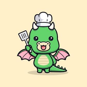 Schattige draak chef dier mascotte karakter