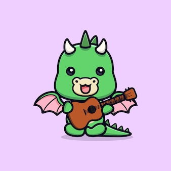 Schattige draak gitaar spelen instrument dier mascotte karakter