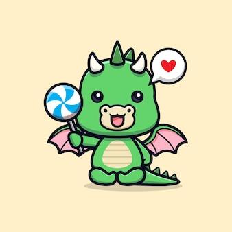 Schattige draak liefde lolly dier mascotte karakter