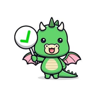 Schattige draak met het juiste teken of checklist teken dier mascotte karakter