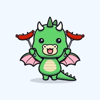 Schattige draak met worst dier mascotte karakter