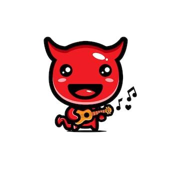 Schattige duivel speelt gitaar