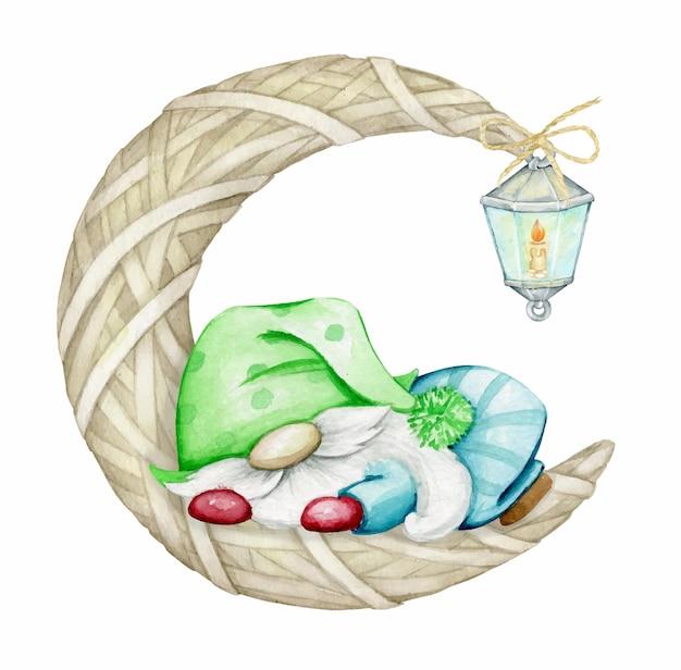Schattige dwerg, slapend, op de maan, geweven van stro. aquarel, kerstconcert.
