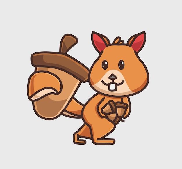 Schattige eekhoorn brengt noten voor voorraden. dier platte cartoon stijl illustratie pictogram premium vector logo mascotte geschikt voor webdesign banner karakter