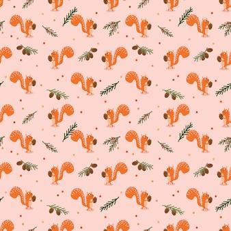 Schattige eekhoorn en herfst naadloze patroon.