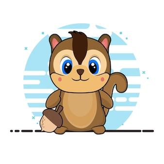 Schattige eekhoorn illustratie. pictogram concept geïsoleerd. platte cartoon stijl