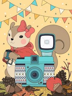 Schattige eekhoorn kleurplaat met camera-elementen