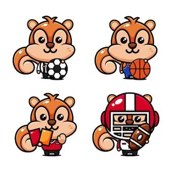 Schattige eekhoorn set thema sport acteur, voetbal, basketbal, rugby, rechter