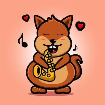 Schattige eekhoorn spelen saxofoon mascotte cartoon