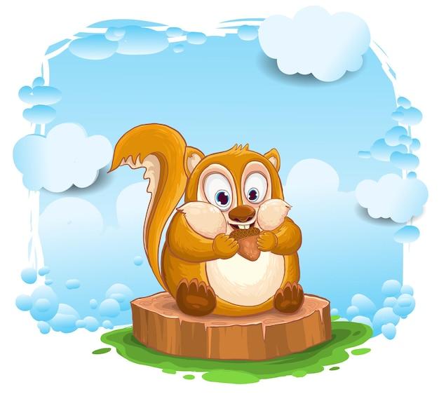 Schattige eekhoorn tekenfilm, eekhoorn cartoon vectorillustratie. Premium Vector