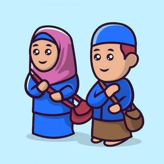 Schattige een paar moslim kindermascotte 4