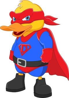 Schattige eend in een superheldenkostuum