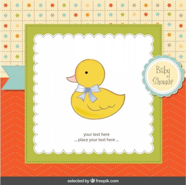 Schattige eend met lopp babydouche kaart