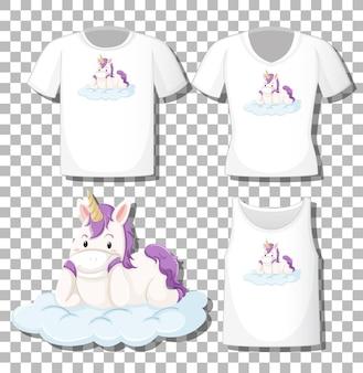 Schattige eenhoorn lag op de wolk stripfiguur met set van verschillende shirts geïsoleerd op transparante achtergrond