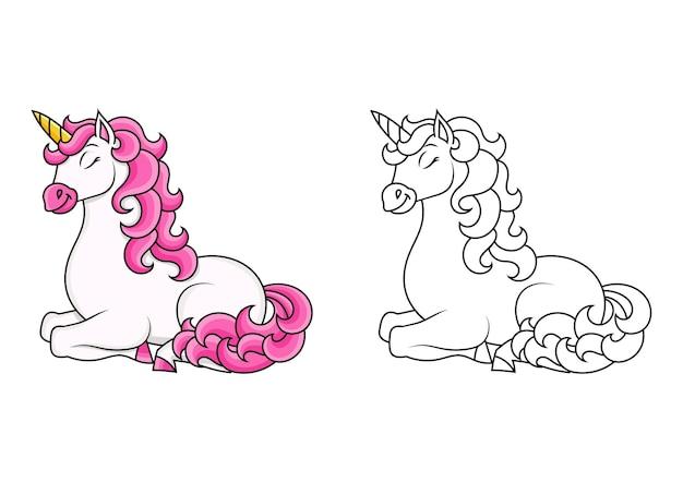Schattige eenhoorn magische fee paard kleurboek pagina voor kinderen