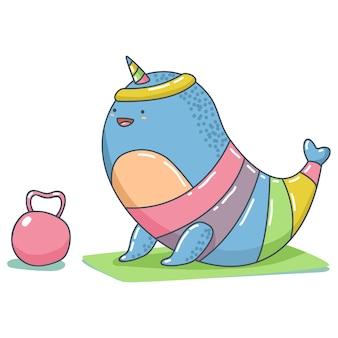Schattige eenhoorn narwal met gewicht doen fitness en yoga exerssise vector dierlijke stripfiguur geïsoleerd op een witte ruimte.