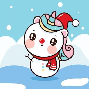 Schattige eenhoorn sneeuwpop dragen kerstmuts cartoon kawaii hand getrokken