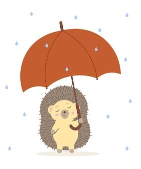 Schattige egel staat met een paraplu in de regen