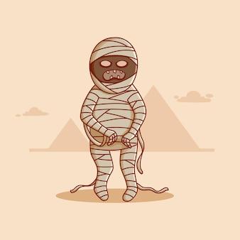 Schattige egypte mummie met doodle of platte ontwerp halloween mummie karakter vector ontwerp